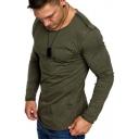 Men's Simple Plain Trendy Patchwork Long Sleeve Single Pocket Chest Cotton T-Shirt