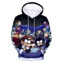 3D Cartoon South Park Pattern Long Sleeve Pullover Blue Drawstring Hoodie