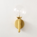 Contemporary Spherical Wall Lamp Clear Glass Single Light Sconce Light in Gold for Bedside
