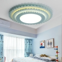 Wooden 3 Tiers Ultra Thin Flushmount Stylish Children Bedroom LED Flush Light Fixture in Green