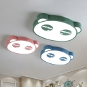 Panda LED Flush Mount Light Contemporary Blue/Green/Pink Metal Ceiling Fixture for Children Room