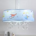 White Finish Drum Chandelier Light with Aircraft Design Crystal 3/5 Lights Hanging Lamp for Kindergarten