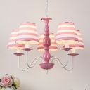 Pink Strips Design Ceiling Pendant Light American Retro Fabric 3/5 Lights Chandelier for Girls Room