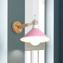 Single Light Coolie Wall Sconce Macaron Colorful Wall Lighting with Wood Base for Children Room