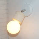 Bare Bulb Sconce Light Simple Industrial Metal 1 Light Wall Lamp in White/Wood for Foyer
