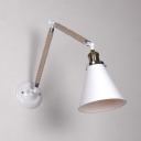 Arm Adjustable Wall Light with White Cone Shade Lodge Style Rope Single Head Wall Lamp