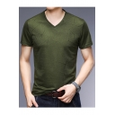 Men's Summer Stylish Jacquard Short Sleeve V-Neck Loose Fitted T-Shirt