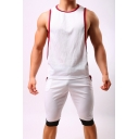 Stylish Contrast Trim Round Neck Sport Casual Low Cut Tank Top for Men