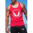 Guys Cool Graphic Print Racerback Muscle Bodybuilding Fitness Bro Tank Top