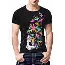 Teenagers Cool Paper Crane Pattern Round Neck Short Sleeve Black Fitted T-Shirt