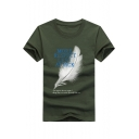 Letter MORE RESPECT LESS ATTACK Feather Print Summer Basic Short Sleeve Tee