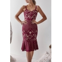 Women's Fashion Ruffled Hem Midi Bodycon Lace Cami Dress