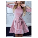 Girls Plain Round Neck Long Sleeve Tied Waist Mini Velvet A-Line Dress