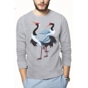 Awesome Crane Printed Crewneck Long Sleeve Loose Fitted T-Shirt