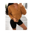 Popular V Neck Long Sleeve Plain Fitted Sweatshirt