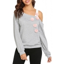 Pink Flower Embellished One Shoulder Long Sleeve Gray Sweatshirt