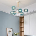 Sphere Ceiling Light Modern Chic Faded Blue Glass 6 Light Ceiling Lamp for Coffee Shop