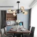 Modern Design Bubble Suspended Lamp Cognac Glass 6 Light LED Hanging Light for Bedroom