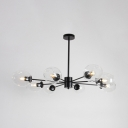 Bubble Shade Ceiling Light Contemporary Clear Glass 8 Light Chandelier in Black