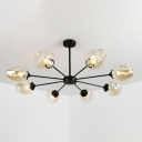 Cognac Glass Branch Chandelier Contemporary Multi Light Decorative Suspended Lamp