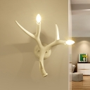 Deer Horn Shape Wall Light Lodge Natural Resin 2 Light Decorative LED Wall Sconce