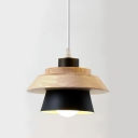 Woody Cone Shade Hanging Light Natural Designers Style Pendant Lamp in Black for Bedroom