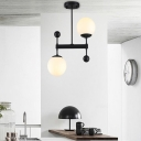 Double Ball Pendant Light Opal Glass Modern Asymmetric 2 Light Art Deco Hanging Light