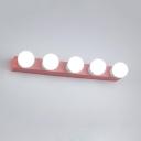 Open Bulb Vanity Bar Light Modern 5 Light LED Makeup Mirror Light in Pink for Bathroom