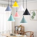Macaroon Style Funnel LED Suspension Lights Acrylic 1 Light Pendant Lighting for Bedside Restaurant Cafe