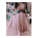 Evening Long Sleeve Plunge Neck Lace Patch Pink Maxi A-Line Dress