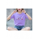 Chic Short Sleeve Round Neck Letter FOLLOW ME Cartoon Figure Printed Cotton Top for Girls