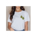 Short Sleeve Round Neck Avocado Printed White Tee