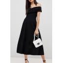 Black Off The Shoulder Short Sleeve Plain Pleated Front Sexy Plain Midi A-Line Dress