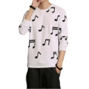Hot Popular All Over Musical Note Printed Crew Neck Casual Loose Fit Pullover Sweatshirt