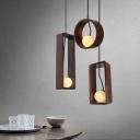 Open Bulb Ceiling Pendant Lamp Modern Design Wood 3 Light Drop Light for Living Room