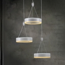 3 Light Hoops LED Suspended Light Contemporary Metal LED Hanging Lamp for Coffee Shop