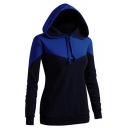 Casual Long Sleeve Colorblock Fitted Drawstring Hoodie