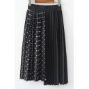 Antique Elastic Waist Polka Dot Printed Asymmetric Hem Midi Pleated Skirt