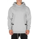 Men's Sports Breathable Fashion Logo Print Chest Big Pocket Front Regular Fitted Cotton Hoodie