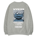 Unique Funny Letter WANTED Cartoon Frog Printed Round Neck Loose Fit Grey Pullover Sweatshirt