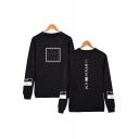 Guys Long Sleeve Crew Neck Popular Letter XXX Graphic Print Regular Fitted Pullover Sweatshirt
