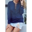 V Neck Long Sleeve Lace Up Plain Sexy Plain Chiffon Blouse