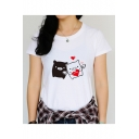 Cute Cartoon Pig Heart Printed Round Neck Short Sleeve White Fitted T-Shirt