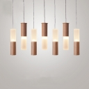 Wood Pipe Cluster Pendant Light Contemporary Multi Light Lighting Fixture for Restaurant