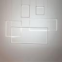 Ultra Thin Rectangular Drop Light Minimalist Plastic 5 Light Pendant Lamp for Living Room