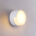 Acrylic Round Shade Wall Sconce Simplicity 1 Head LED Wall Mount Light in White for Hallway