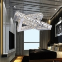 2 Square Ring Suspended Light Modern Fashion Decoration Crystal LED Hanging Lamp in Chrome