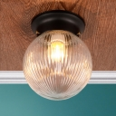 Ribbed Glass Sphere Ceiling Light Contemporary 1 Bulb Flush Mount Lamp Fixture in Black