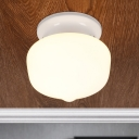 White Finish Schoolhouse Ceiling Fixture Modern Fashion 1 Bulb Flush Light Fixture with Glass Shade