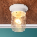 White Finish Cylinder Flush Mount Light with Clear Ripple Glass Shade Modern Design Ceiling Lamp